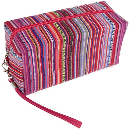 Striped Wristlet Cosmetic Makeup Bag