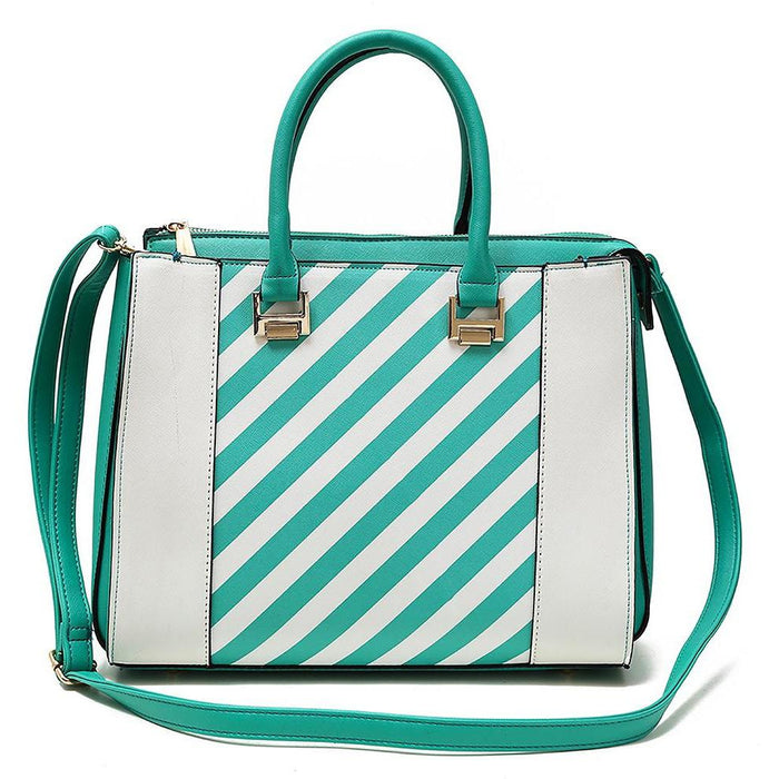Diamond Heart Stripe Handbag - jenzys.com