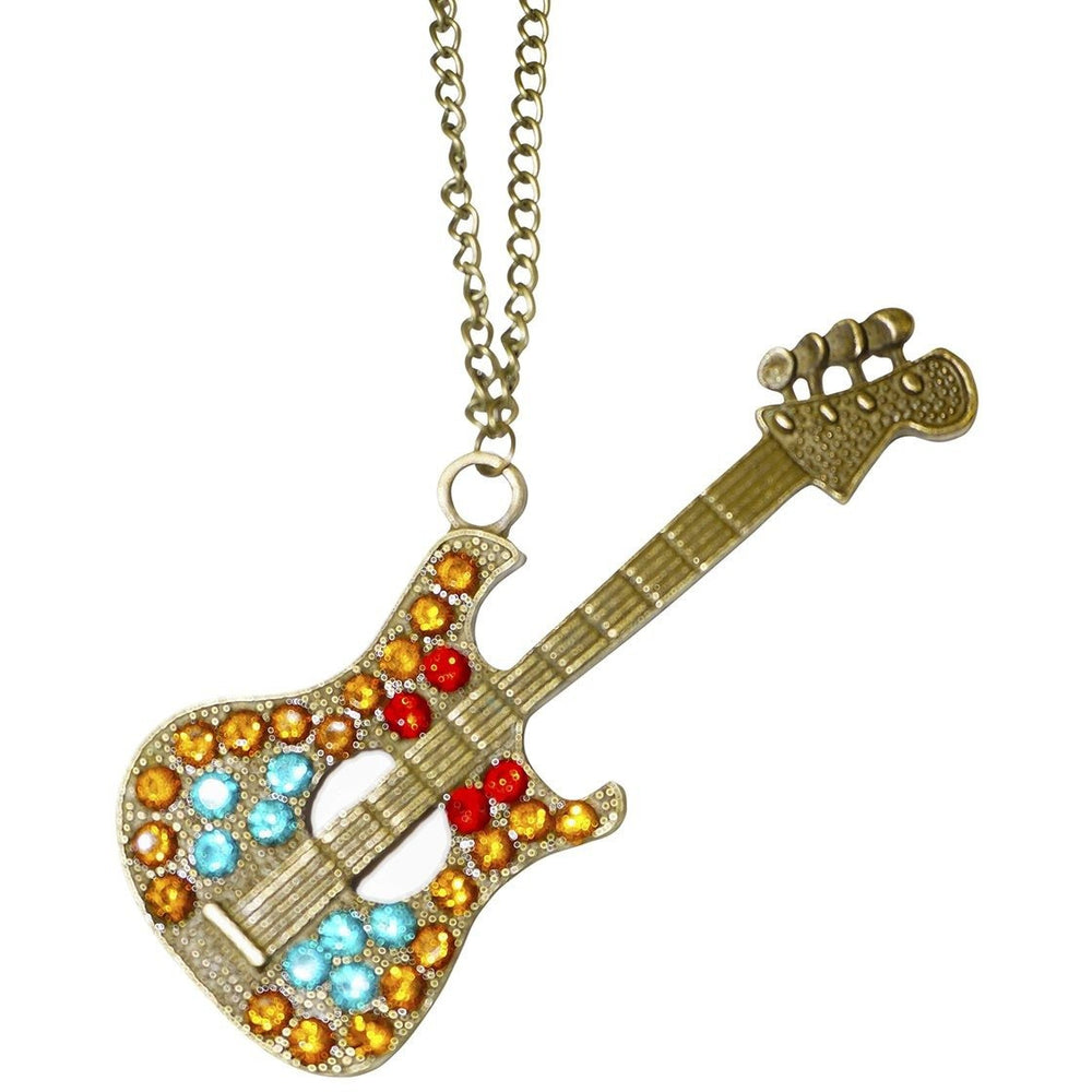 Rhinestone Guitar Necklace - jenzys.com