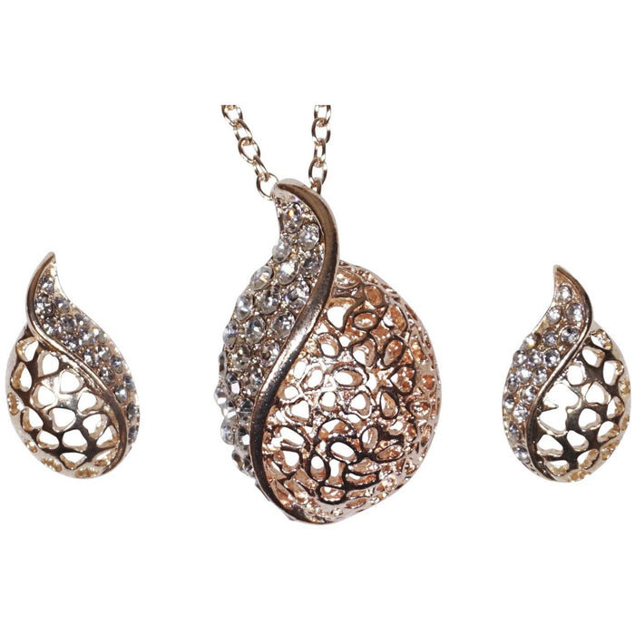 Heart Embossed Necklace Set - jenzys.com