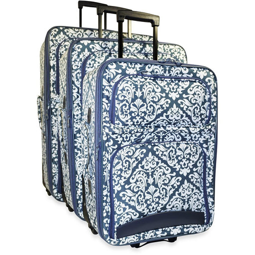 Damask Print Luggage Set - jenzys.com