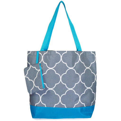 Ever Moda Quatrefoil Print Large Tote Bag