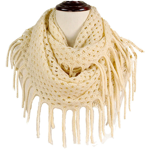 Beige Metallic Fringe Fashion Scarves - jenzys.com