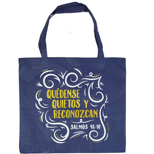 "Religious Spiritual Inspiration Tote Bag ""Be Still and Know ..."" Spanish - jenzys.com"