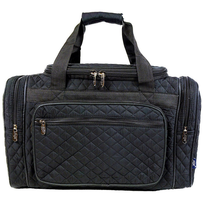 Solid Black Quilted Duffle Bag