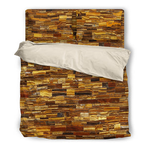 Retro Tiger Eye Duvet Cover & Pillow Set Beige or Black Trim
