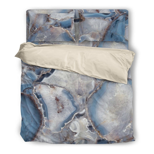 Wild Agate Duvet & Pillow Cover Set Beige or Black Trim
