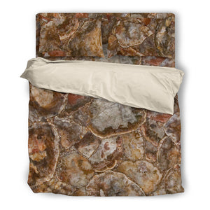 Petrified Wood Duvet & Pillow Cover Set Beige or Black Trim