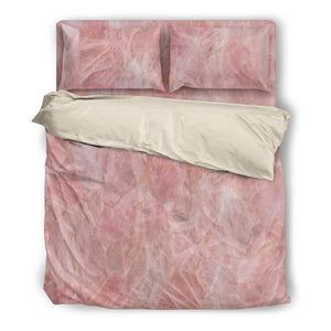 Rose Quartz Duvet Pillow & Cover Set in Beige or Black Trim