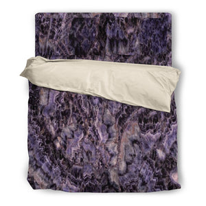 Amethyst Duvet Cover & Pillow Set Beige or Black Trim