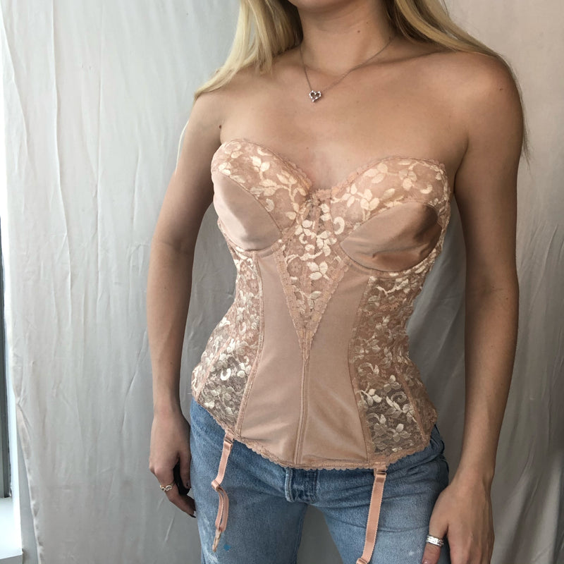 Nude Lace and Satin Corset