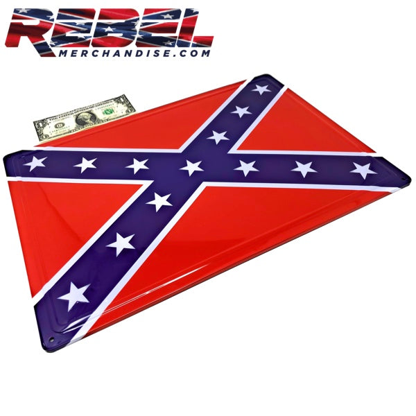 17x12 embossed metal rebel flag sign - size comparison