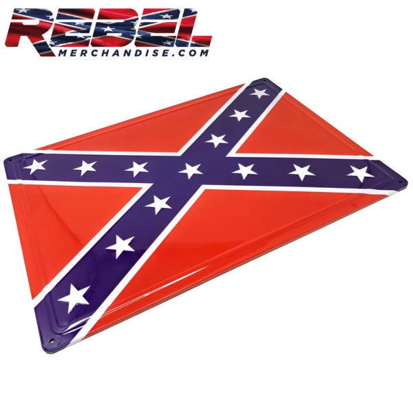 17x12 embossed metal rebel flag sign