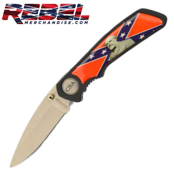 "6-1/4"" Locking Rebel Flag Knife w/CSA Badge & Robert E. Lee Image"
