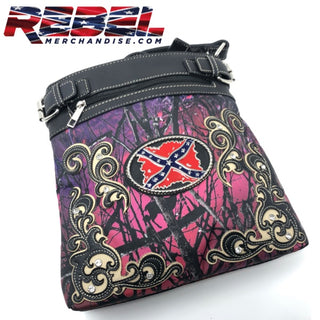 Purple Camo Rebel Plate Crossbody Sling Purse with G.u.n. Pocket