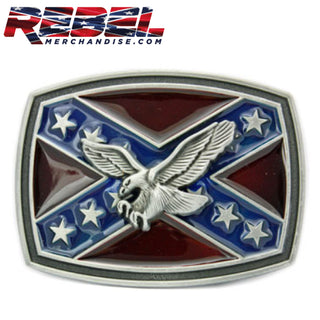 Rebel Flag Belt Buckle w/Eagle