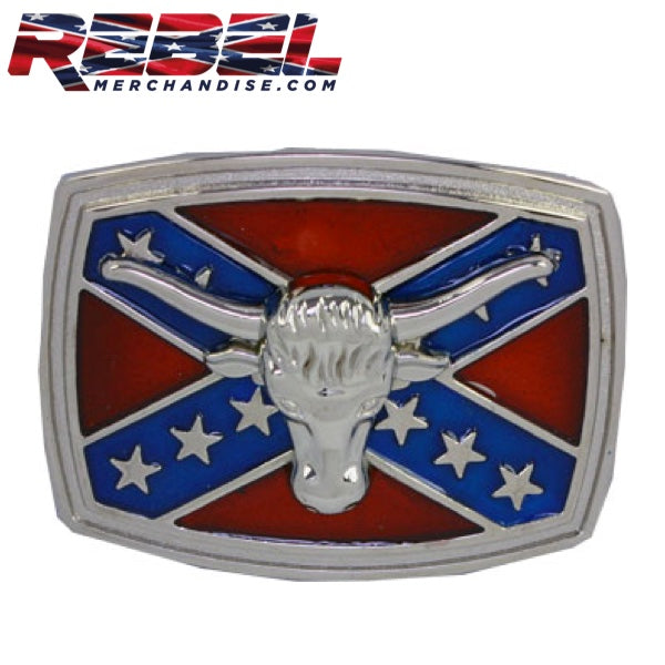Hook'Em Horns Rebel Belt Buckle