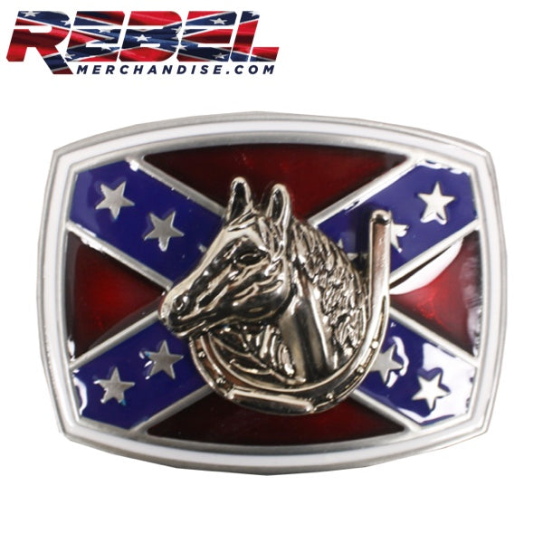 Lucky Horseshoe Rebel Belt Buckle