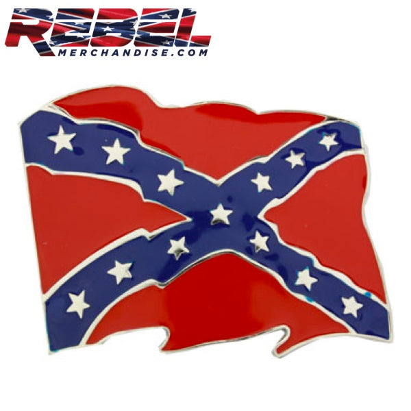Wave Rebel Flag Belt Buckle