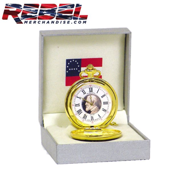 gift boxed robert e lee gold tone pocket watch