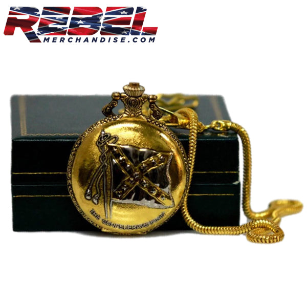 gold confederate flag pocket watch