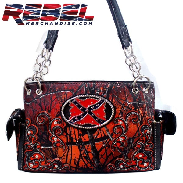 Orange and Black Rebel Camo Purse