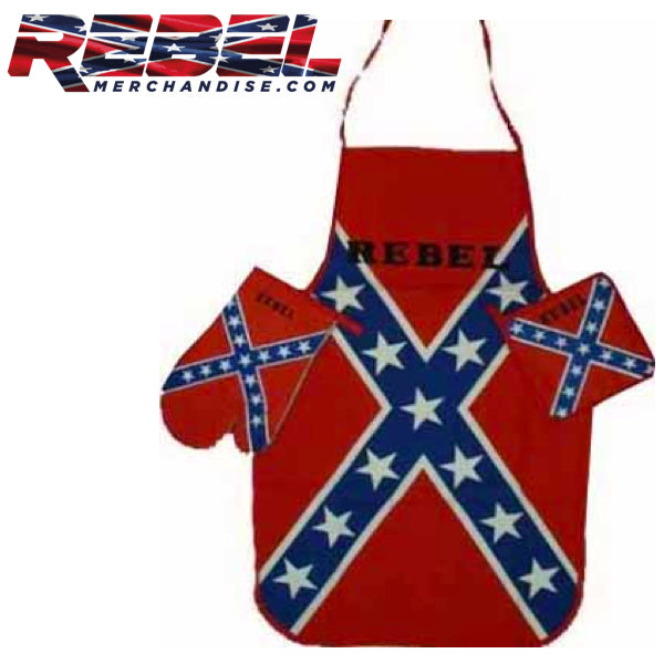 rebel flag kitchen set; apron mitten and pot holder