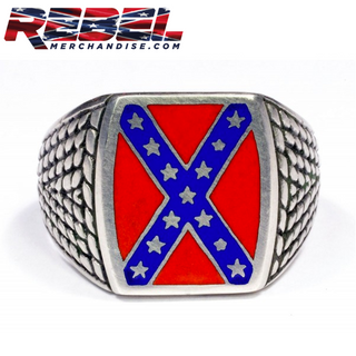 Heritage Not Hate Rebel Flag Ring (Solid Back)