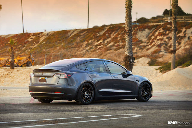"VMR V801 Tesla Model 3 18"" Titanium Black Shadow Rear Side View"