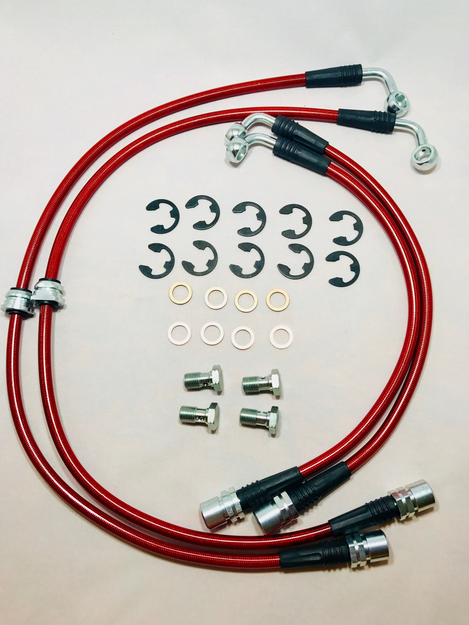 Tesla Model S stainless brake lines red