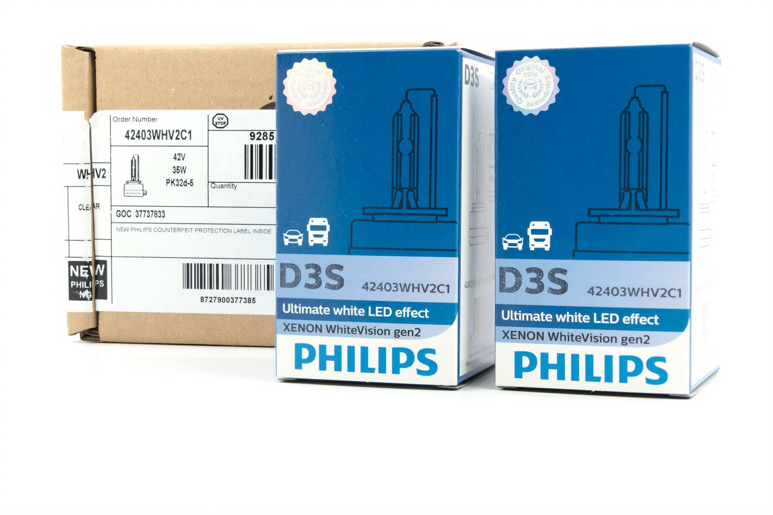 D3S: Philips 42403 WHV2 White Vision Upgraded Headlight Bulbs Pair (6000K)