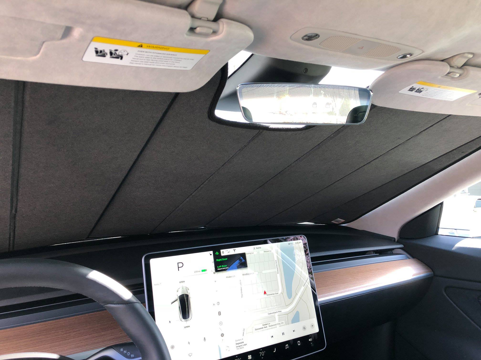 Tesla Model 3 UV sunshade interior