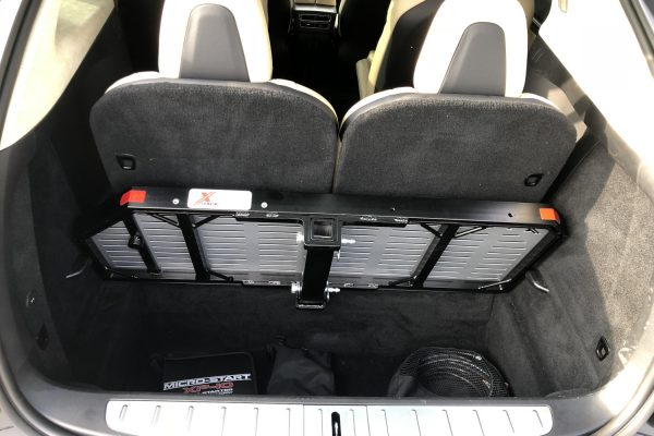 Tesla Model X cargo carrier behind seat