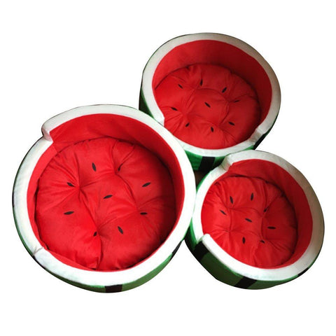 Washable, Warm Watermelon, Pet Bed with cushion - the-cavy-closet