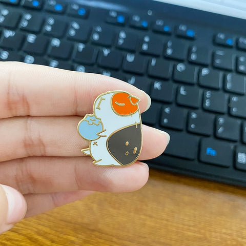 Guinea Pig and Blueberry Enamel Pin - the-cavy-closet