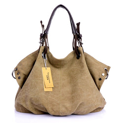 Women Canvas Solid Shoulder Bag Large Capacity Tote Purse