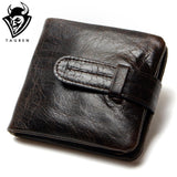 Luxury Vintage Casual 100% Real Genuine Cowhide Oil Wax Leather Men Short Bifold Wallet