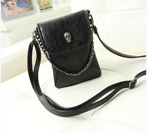 Vogue Star 2017 New Fashion Shoulder Cross-body Small Skull Chain Mobile Phone Bag Purse