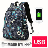 MARK RYDEN Fashion Nylon Unisex Geometric Pattern Laptop Backpack