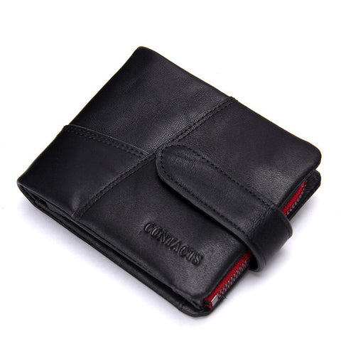 CONTACT'S Vintage Men Genuine Cowhide Leather Long and Small Wallet