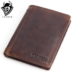 Vintage Designer Genuine Cowhide Leather Men Short Wallet