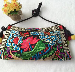 Vintage Embroidery Womens Cross-Body Shoulder Bag Clutch Purse