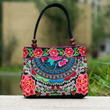 Vintage 2017 Embroidery Handmade Double Faced Flower Canvas Shoulder Purse