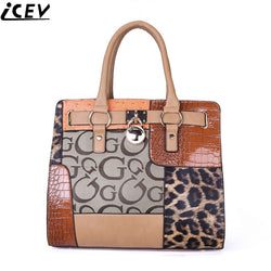 ICEV 2017 Luxury Designer PU Leather Patchwork Top Handle Purse