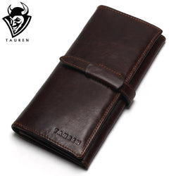 TAUREN Vintage 100% Top Genuine Cowhide Long Leather Wallet