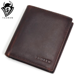 TAUREN Mens Wallet Vintage Crazy Horse Genuine Leather