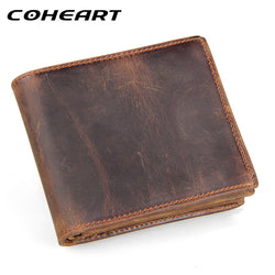 COHEART Vintage 100% Genuine Cowhide Leather Men Wallet