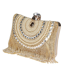2017 Luxy Moon Designer Women Gold Long Chain Tassel Evening Bag