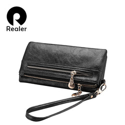 Women REALER Brand Fashion Double Zipper Wallet
