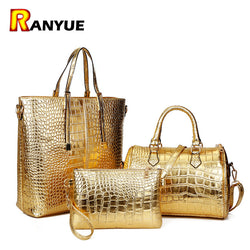 3Pcs Luxury Alligator Women Leather Shoulder Bag Handbag Clutch Purses